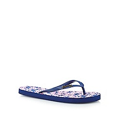 Mantaray - Navy floral flip flops