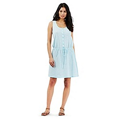 Mantaray - Aqua crochet striped print dress
