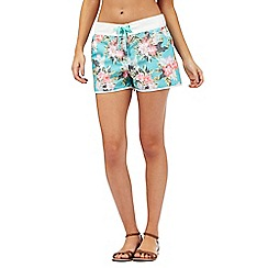 Mantaray - Aqua floral print board shorts
