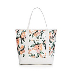 Mantaray - White hibiscus print shopper bag