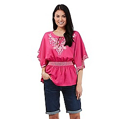 Mantaray - Pink embroidered detail gypsy top