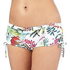 Mantaray - Multi-coloured botanical print bikini bottoms
