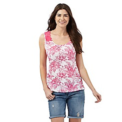 Mantaray - White and pink floral print top