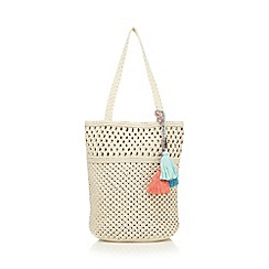 Mantaray - Beige macrame shopper bag