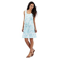 Mantaray - Light blue palm print knee length dress