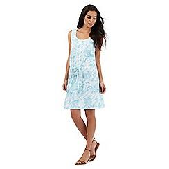 Mantaray - Light blue palm print knee length dress