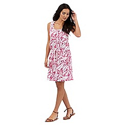 Mantaray - Pink palm print knee length dress