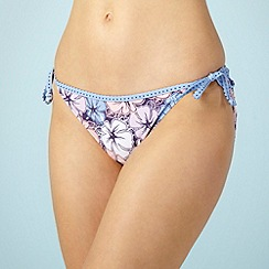 Mantaray - Lilac floral tie side bikini bottoms