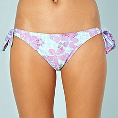Mantaray - Lilac hibiscus checked bunny tie bikini bottoms