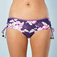 Purple Hibiscus Flower Tie Side Bikini Bottoms