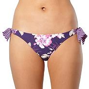 Purple hibiscus flower high leg bikini bottoms