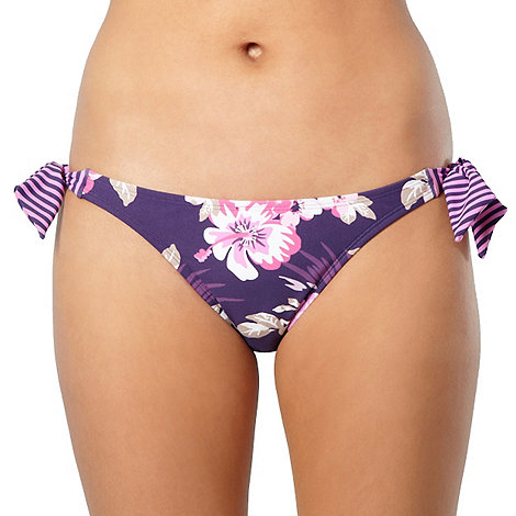 Mantaray - Purple hibiscus flower high leg bikini bottoms