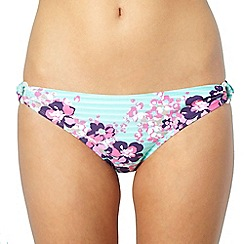 Mantaray - Pale green floral loop side bikini bottoms