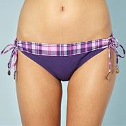 Purple checked loop side bikini bottoms