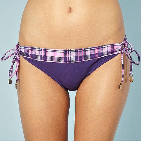 Mantaray - Purple checked loop side bikini bottoms