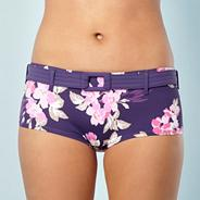 Purple hibiscus flower belted shorts