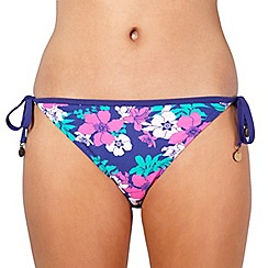 Mantaray - Purple floral tie side bikini bottoms