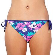 Purple floral tie side bikini bottoms