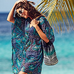 Beach Collection - Navy and turquoise floral print kaftan