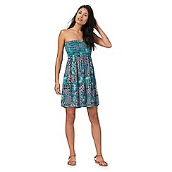 Beach Collection - Turquoise floral print shirred dress