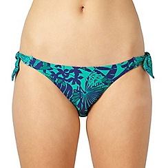 Mantaray - Online exclusive - green tropical leaf bikini bottoms