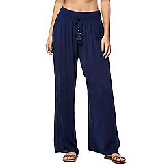 Beach Collection - Navy crepe palazzo trousers