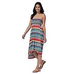 Mantaray - Multi-coloured bandeau high low beach dress