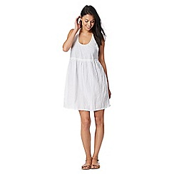 Beach Collection - White crochet back beaded detail tunic dress