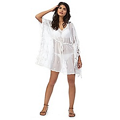 Reger by Janet Reger - White lace trim kaftan