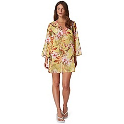 Butterfly by Matthew Williamson - Yellow tropical floral print bead embellished kaftan