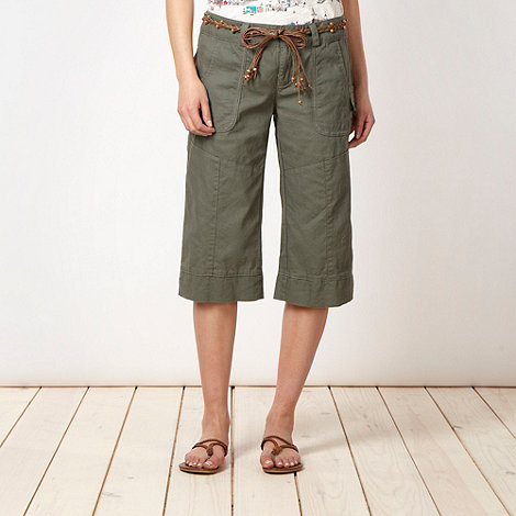Mantaray - Khaki belted cropped trousers