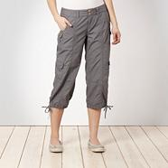 Grey Poplin Cargo Trousers