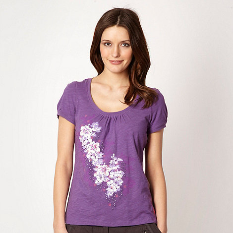 Mantaray - Purple textured floral t-shirt