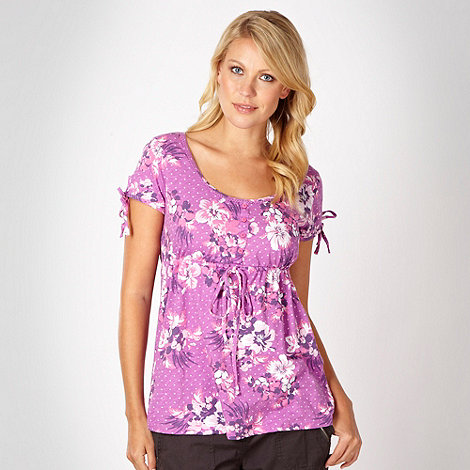 Mantaray - Pink floral tie sleeve top
