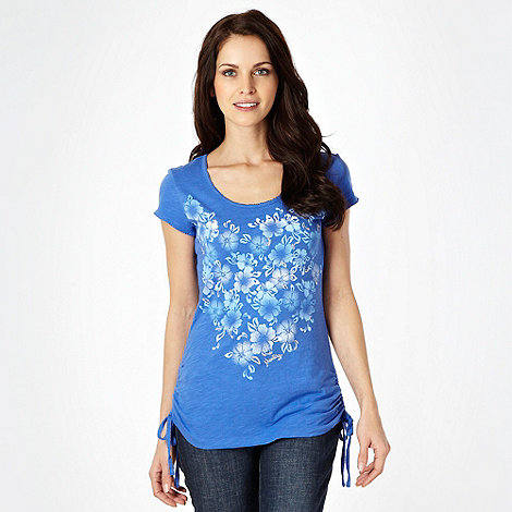 Mantaray - Blue floral tie side t-shirt - size 12