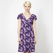 Purple wrap over floral jersey dress
