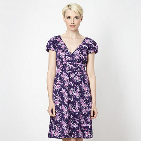 Mantaray - Purple wrap over floral jersey dress