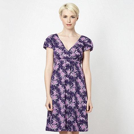 Mantaray - Purple wrap over floral jersey dress