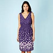Dark Purple Floral Woven Summer Dress