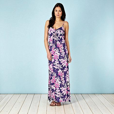 Mantaray - Dark purple floral ruched maxi dress