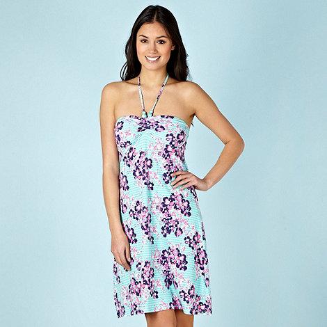 Mantaray - Light turquoise floral bandeau dress