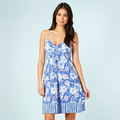 Mantaray - Blue floral tie front dress