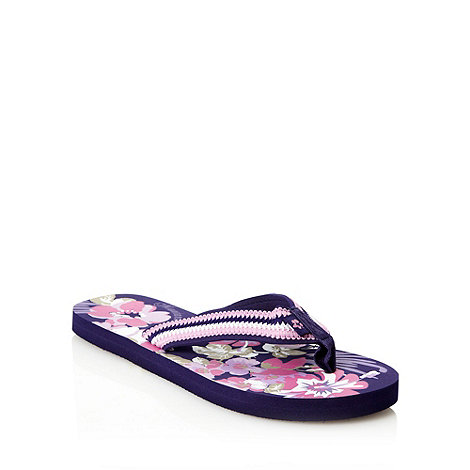 Mantaray - Purple floral embroidered flip flops