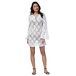 Floozie by Frost French - White lace bell sleeved dress