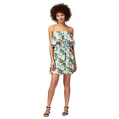 Floozie by Frost French - Multi-coloured island print bandeau mini beach dress