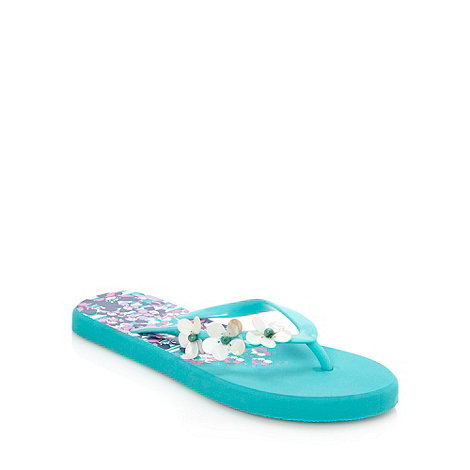 Mantaray - Turquoise confetti floral flip flops