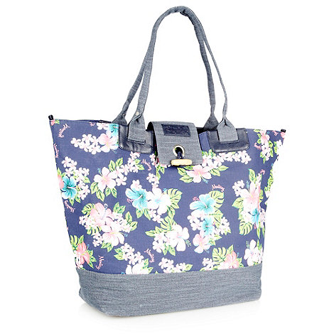 Mantaray - Navy hibiscus printed shopper bag