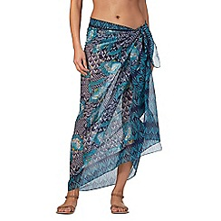 Beach Collection - Blue floral print sarong