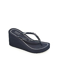 Beach Collection - Navy high wedge heel flip flops