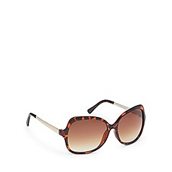 Beach Collection - Brown tortoise shell diamante D-frame sunglasses